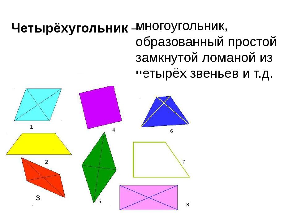 Четырёхугольник – многоугольник, образованный простой замкнутой ломаной из че...
