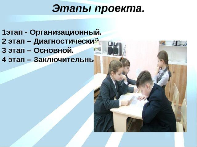 1этап - Организационный. 2 этап – Диагностический. 3 этап – Основной. 4 этап...