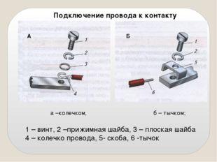 Подключение провода к контакту А Б а –колечком, б – тычком; 1 – винт, 2 –приж