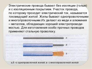 Электрические провода бывают без изоляции (голые) и с изоляционным покрытием.