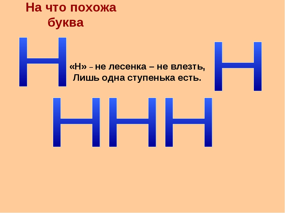 На что похожа буква «Н» – не лесенка – не влезть, Лишь одна ступенька есть.