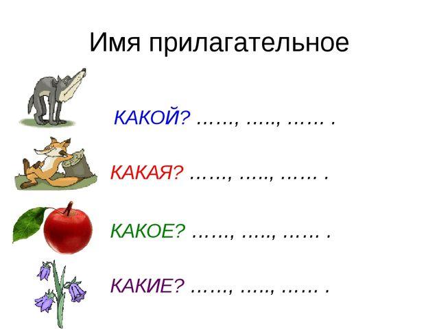 Имя прилагательное КАКОЙ? ……, ….., …… . КАКАЯ? ……, ….., …… . КАКОЕ? ……, …..,...