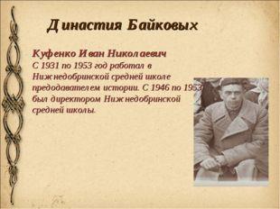 Династия Байковых Куфенко Иван Николаевич С 1931 по 1953 год работал в Нижнед