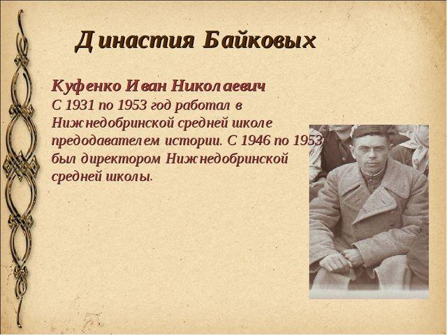 Династия Байковых Куфенко Иван Николаевич С 1931 по 1953 год работал в Нижнед...