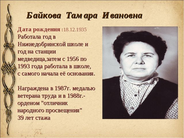 Байкова Тамара Ивановна Дата рождения :18.12.1935 Работала год в Нижнедобрин...
