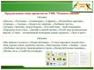 """Предлагаемые темы проектов по УМК """"Планета знаний"""" 1-й класс «Школа», «Растен"""