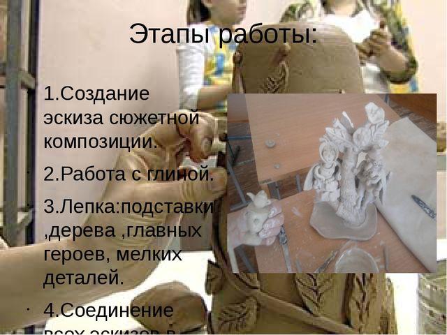 Этапы работы: 1.Создание эскиза сюжетной композиции. 2.Работа с глиной. 3.Леп...