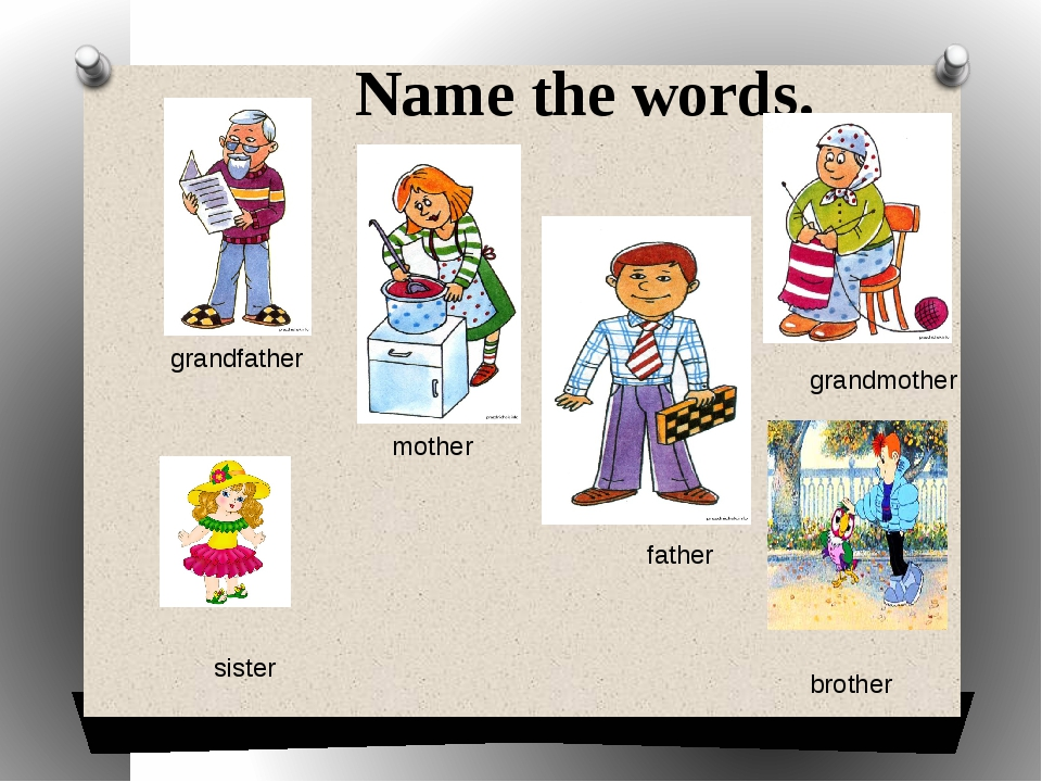 Name the words. grandfather mother grandmother father sister brother