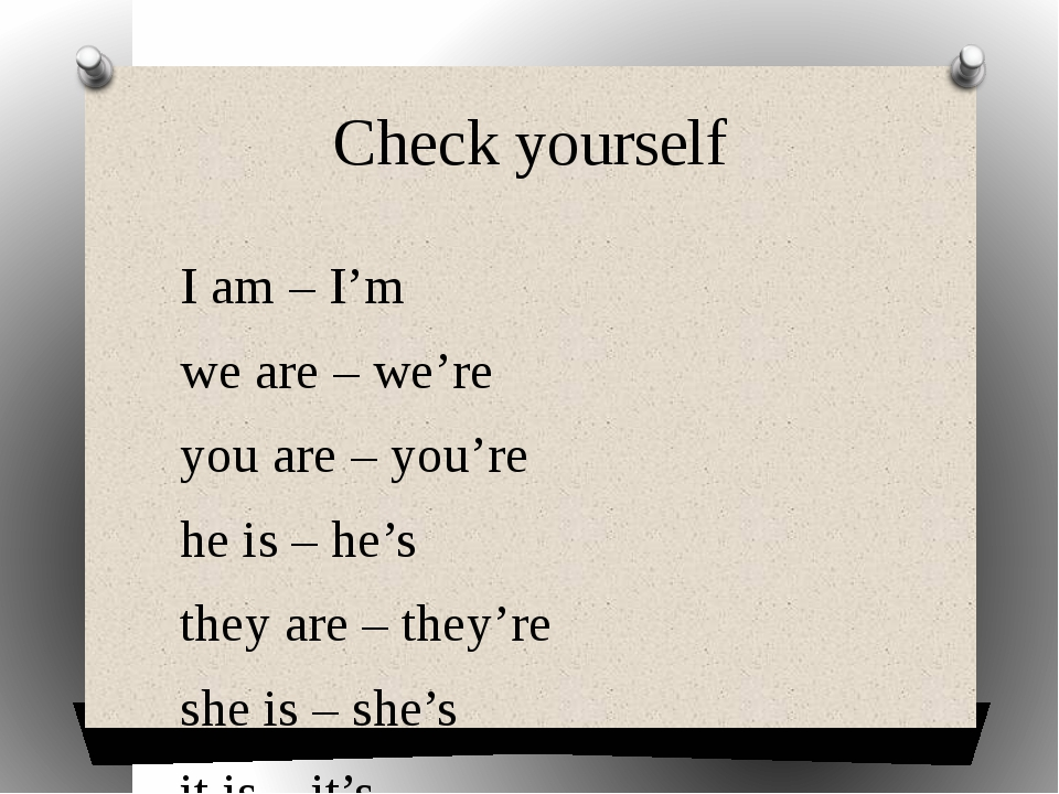 Check yourself I am – I'm we are – we're you are – you're he is – he's they a...