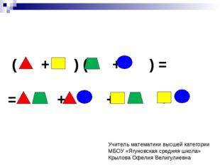 ( + ) ( + ) = = + + + Учитель математики высшей категории МБОУ «Ягуновская с
