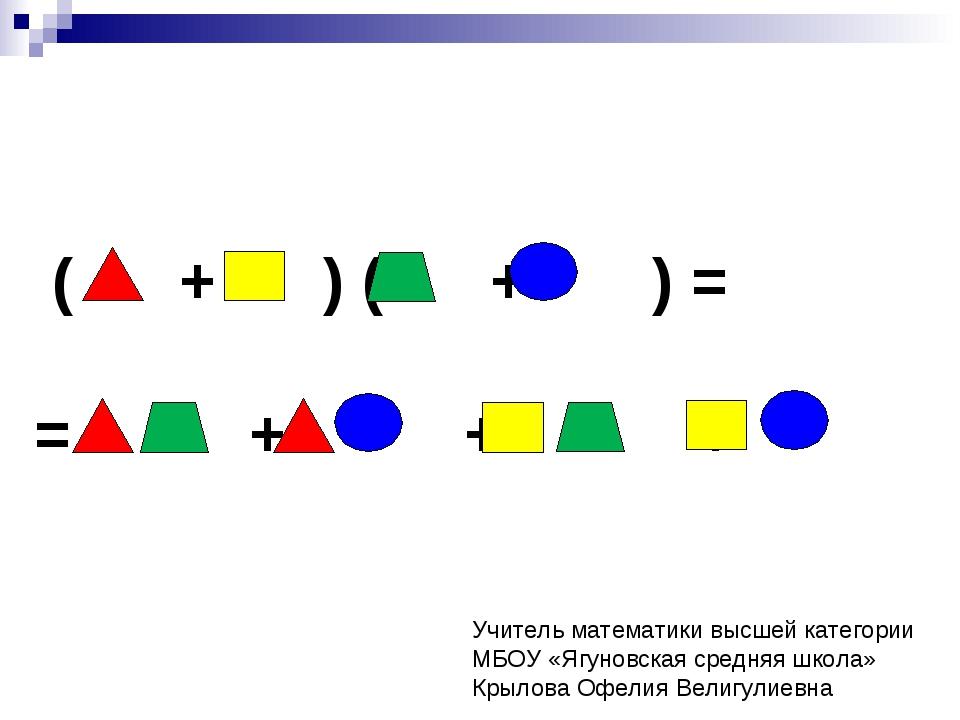 ( + ) ( + ) = = + + + Учитель математики высшей категории МБОУ «Ягуновская с...