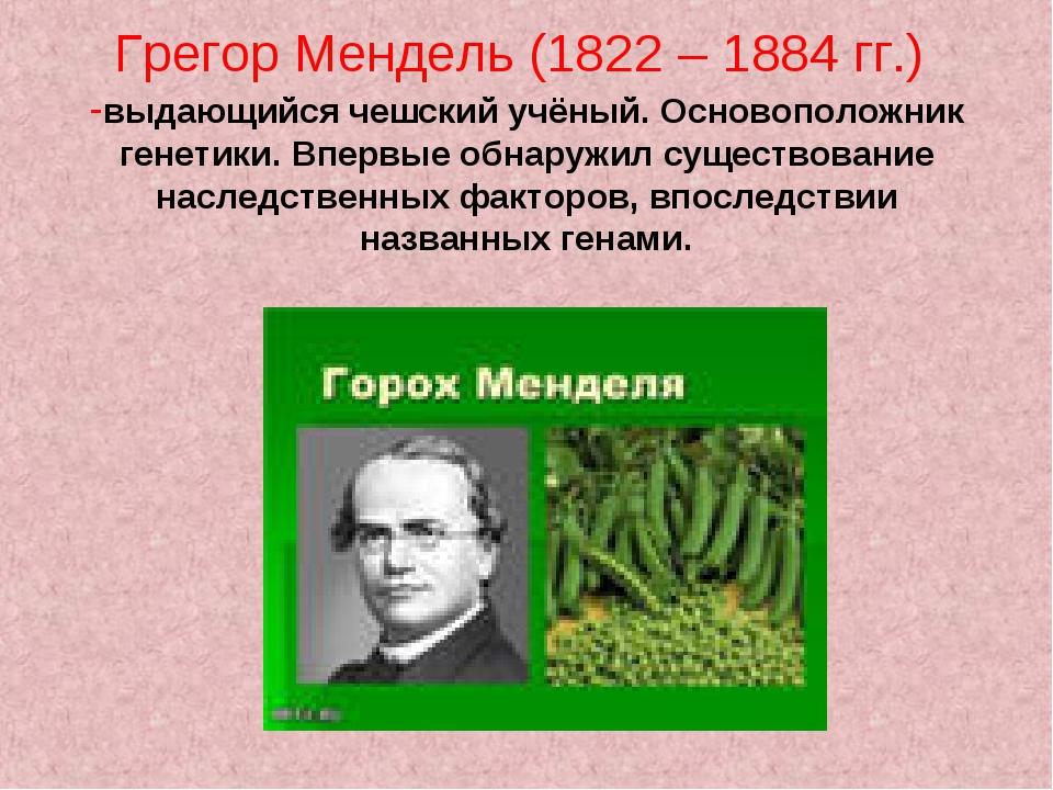 Грегор Мендель (1822 – 1884 гг.) -выдающийся чешский учёный. Основоположник г...