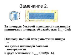 Площадь полной поверхности цилиндра – это сумма площадей боковой поверхности