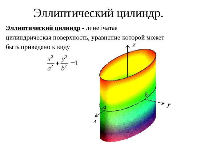 Эллиптический цилиндр. Эллиптический цилиндр - линейчатая цилиндрическая пове...