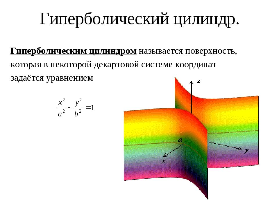 Гиперболический цилиндр. Гиперболическим цилиндром называется поверхность, ко...