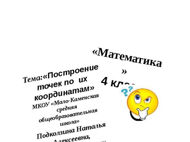 «Математика» 4 класс Тема:«Построениеточек по их координатам» МКОУ «Мало-Ка...