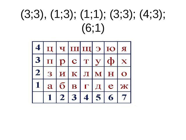 (3;3), (1;3); (1;1); (3;3); (4;3); (6;1)