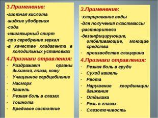 3.Применение: -азотная кислота -жидкие удобрения -сода -нашатырный спирт -при