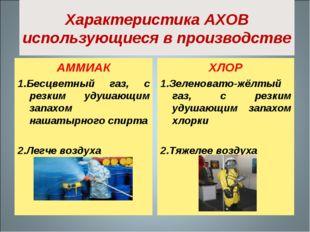 Характеристика АХОВ использующиеся в производстве АММИАК 1.Бесцветный газ, с