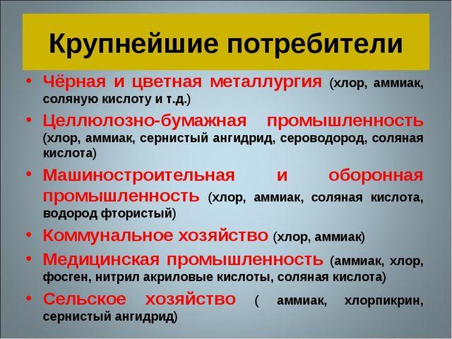 Крупнейшие потребители Чёрная и цветная металлургия (хлор, аммиак, соляную ки...