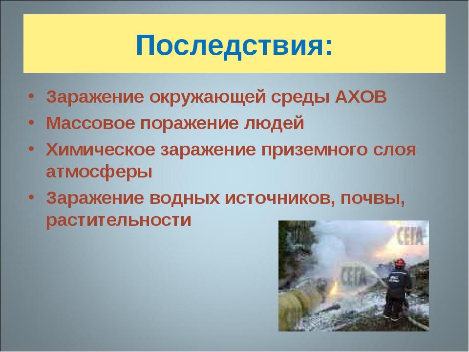 Последствия: Заражение окружающей среды АХОВ Массовое поражение людей Химичес...