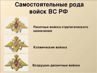 Самостоятельные рода войск ВС РФ Космические войска Воздушно-десантные войск