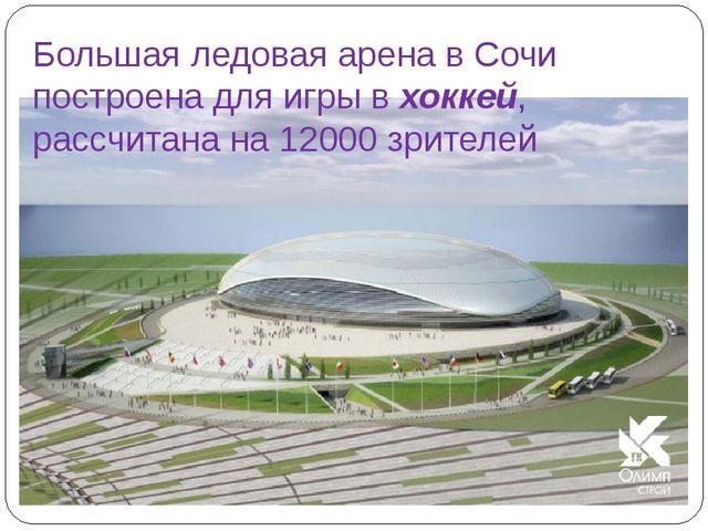 Большая ледовая арена в Сочи построена для игры в хоккей, рассчитана на 12000...