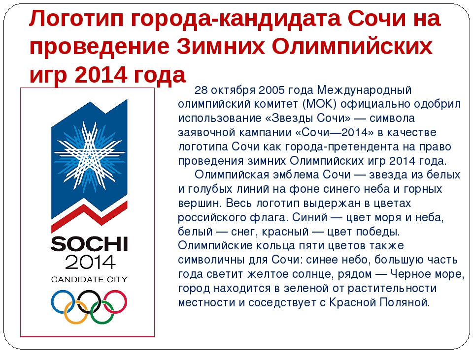 Логотип города-кандидата Сочи на проведение Зимних Олимпийских игр 2014 года...