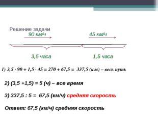 Решение задачи 90 км/ч 3,5 часа 1,5 часа 45 км/ч 2) (3,5 +1,5) = 5 (ч) – все