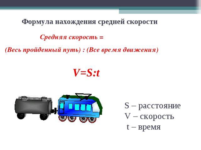 Формула нахождения средней скорости Средняя скорость = (Весь пройденный путь)...