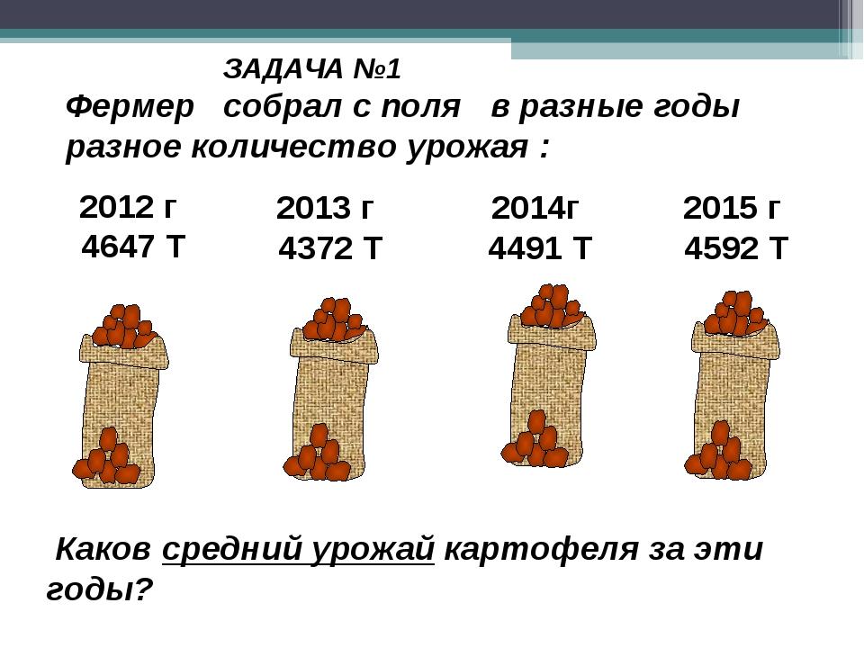 Каков средний урожай картофеля за эти годы? ЗАДАЧА №1 2012 г 4647 Т 2013 г 4...