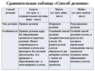 Сравнительная таблица «Способ деления» Способ деления Амитоз (от греч.a– отри