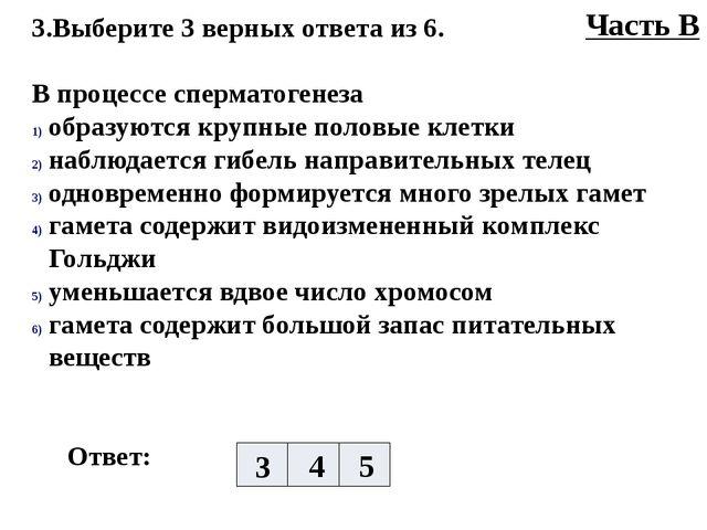 3.Выберите 3 верных ответа из 6. В процессе сперматогенеза образуются крупные...