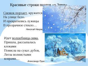 Снежок порхает, кружится, На улице бело. И превратились лужицы В прозрачное с