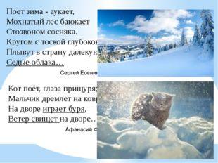 Поет зима - аукает, Мохнатый лес баюкает Стозвоном сосняка. Кругом с тоской г