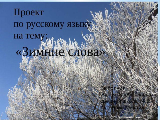 Проект по русскому языку на тему: «Зимние слова» Выполнил ученик 3 «А» класса...