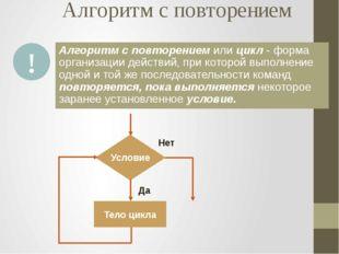 Алгоритм с повторением Алгоритм с повторением или цикл - форма организации де