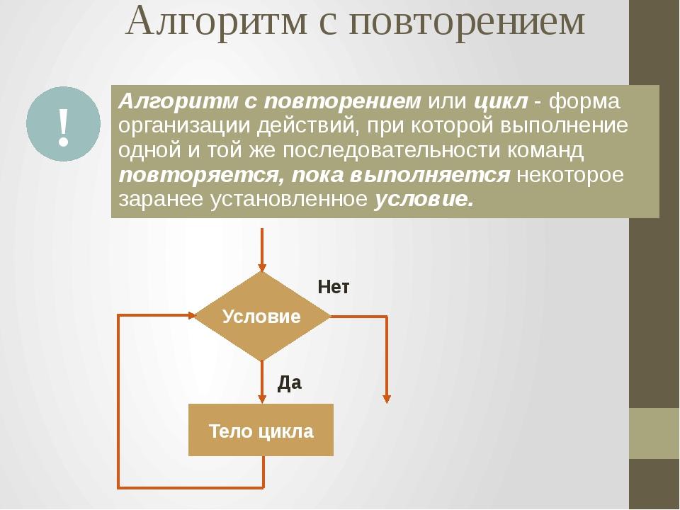 Алгоритм с повторением Алгоритм с повторением или цикл - форма организации де...