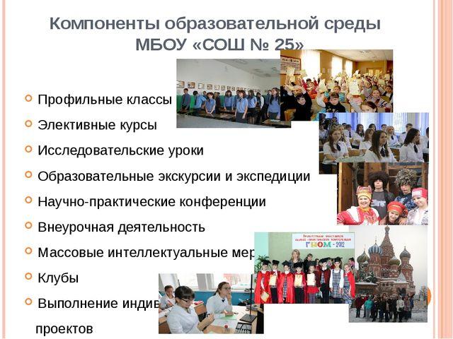 Компоненты образовательной среды МБОУ «СОШ № 25» Профильные классы Элективные...