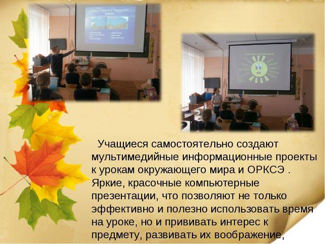 Учащиеся самостоятельно создают мультимедийные информационные проекты к урок...