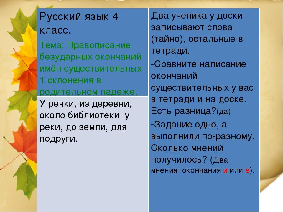 Русский язык 4 класс. Тема: Правописание безударных окончаний имён существите...