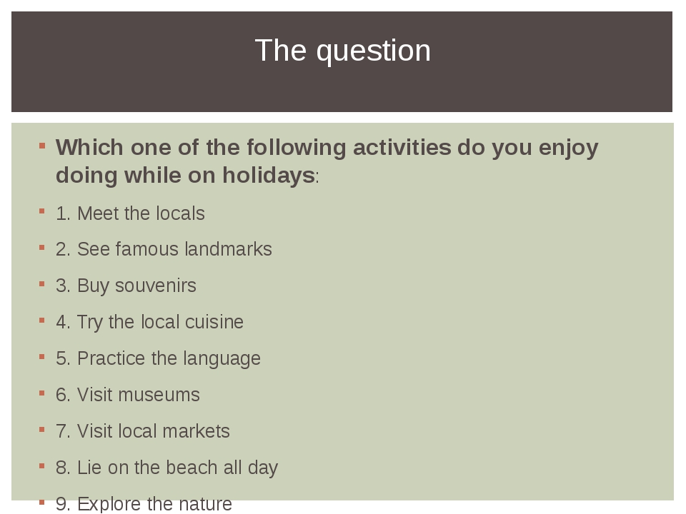 Which one of the following activities do you enjoy doing while on holidays: 1...