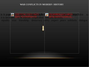 WAR CONFLICTS IN MODERN HISTORY