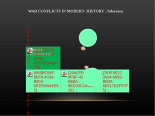 WAR CONFLICTS IN MODERN HISTORY . Tolerance