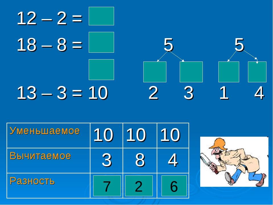 12 – 2 = 10 18 – 8 = 10 5 5 13 – 3 = 10 2 3 1 4 7 2 6