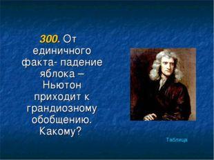 300. От единичного факта- падение яблока –Ньютон приходит к грандиозному обоб