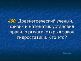 400. Древнегреческий ученый, физик и математик установил правило рычага, откр