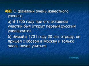 400. О фамилии очень известного ученого. а) В 1755 году при его активном учас