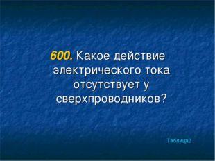 600. Какое действие электрического тока отсутствует у сверхпроводников? Табли