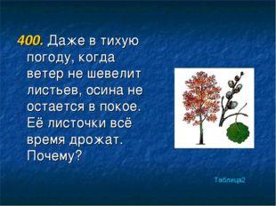 400. Даже в тихую погоду, когда ветер не шевелит листьев, осина не остается в